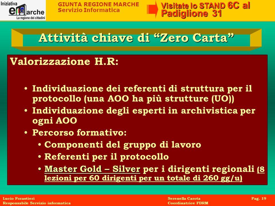 GIUNTA REGIONE MARCHE Servizio Informatica Visitate lo STAND 6C al Padiglione 31 Lucio Forastieri Serenella Carota Pag. 19 Responsabile Servizio infor