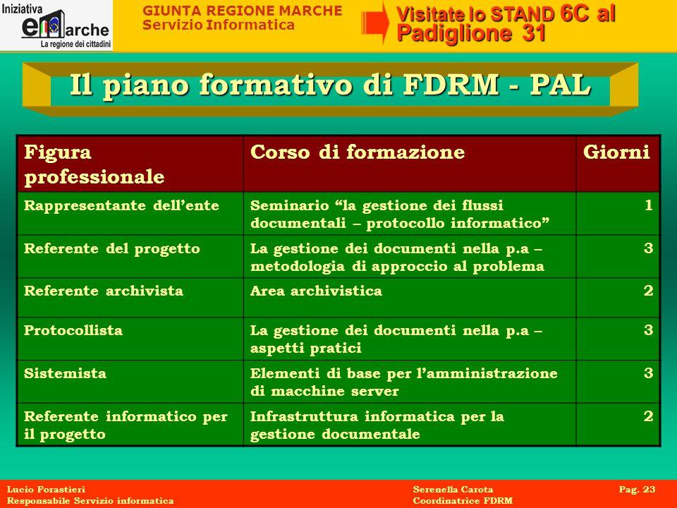 GIUNTA REGIONE MARCHE Servizio Informatica Visitate lo STAND 6C al Padiglione 31 Lucio Forastieri Serenella Carota Pag. 23 Responsabile Servizio infor