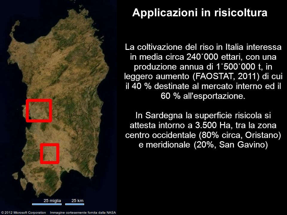 3 Applicazioni in risicoltura La coltivazione del riso in Italia interessa in media circa 240˙000 ettari, con una produzione annua di 1˙500˙000 t, in