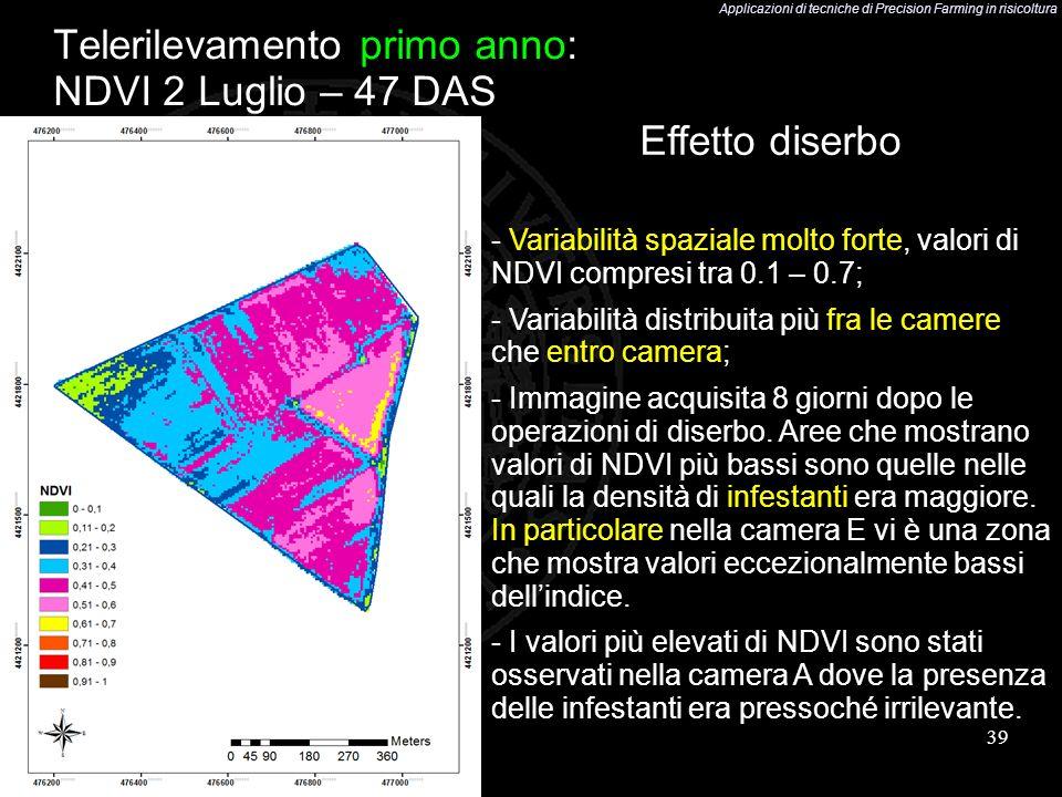 Applicazioni di tecniche di Precision Farming in risicoltura 39 Telerilevamento primo anno: NDVI 2 Luglio – 47 DAS Effetto diserbo - Variabilità spazi