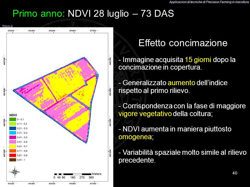 Applicazioni di tecniche di Precision Farming in risicoltura 40 Primo anno: NDVI 28 luglio – 73 DAS Effetto concimazione - Immagine acquisita 15 giorn