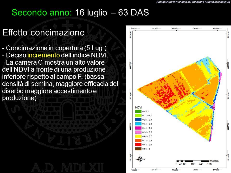 Applicazioni di tecniche di Precision Farming in risicoltura 45 Effetto concimazione - Concimazione in copertura (5 Lug.) - Deciso incremento dellindi