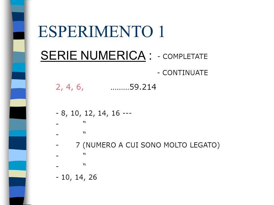 ESPERIMENTO 1 SERIE NUMERICA : - COMPLETATE - CONTINUATE 2, 4, 6,………59.214 - 8, 10, 12, 14, 16 --- - - 7 (NUMERO A CUI SONO MOLTO LEGATO) - - 10, 14, 26