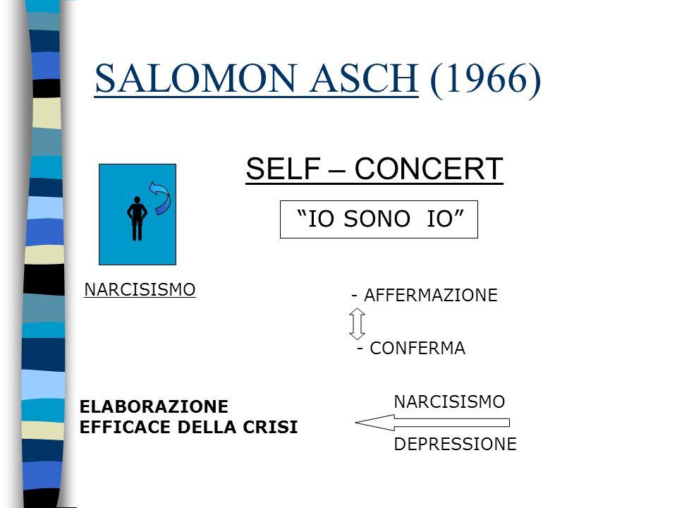 SALOMON ASCH (1966) SELF – CONCERT IO SONO IO NARCISISMO - AFFERMAZIONE - CONFERMA ELABORAZIONE EFFICACE DELLA CRISI NARCISISMO DEPRESSIONE