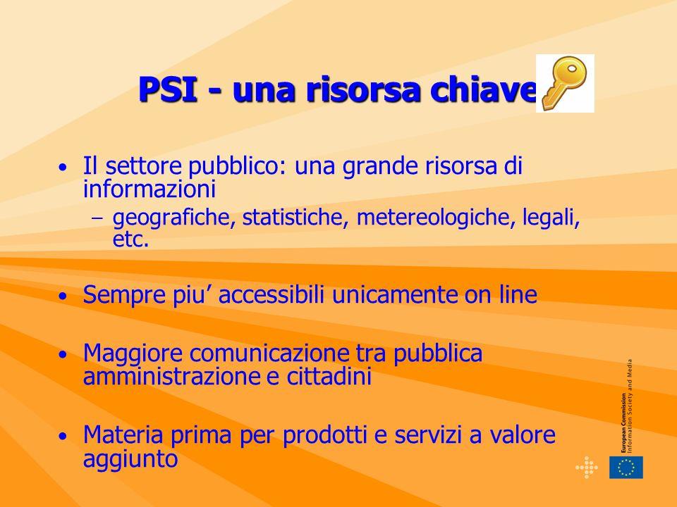 PSI - una risorsa chiave Il settore pubblico: una grande risorsa di informazioni – geografiche, statistiche, metereologiche, legali, etc.