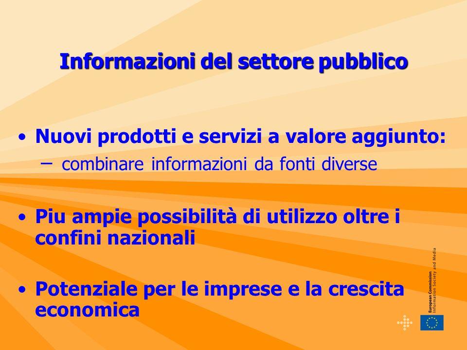 Informazioni del settore pubblico Nuovi prodotti e servizi a valore aggiunto: – combinare informazioni da fonti diverse Piu ampie possibilità di utilizzo oltre i confini nazionali Potenziale per le imprese e la crescita economica