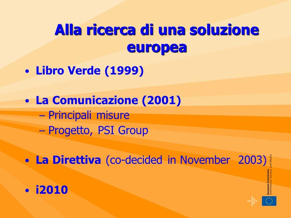 Alla ricerca di una soluzione europea Libro Verde (1999) La Comunicazione (2001) – Principali misure – Progetto, PSI Group La Direttiva (co-decided in November 2003) i2010