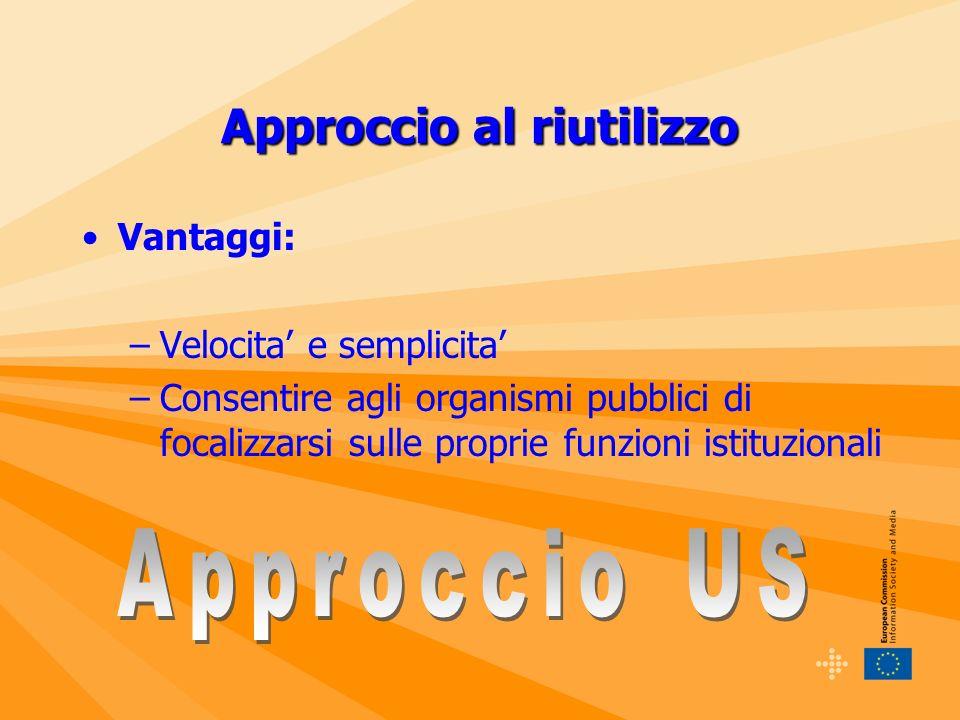 Approccio al riutilizzo Vantaggi: –Velocita e semplicita –Consentire agli organismi pubblici di focalizzarsi sulle proprie funzioni istituzionali