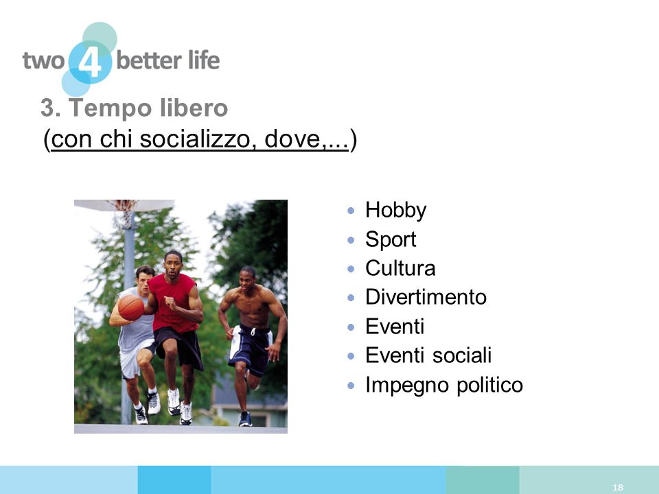3. Tempo libero (con chi socializzo, dove,...) 18 Hobby Sport Cultura Divertimento Eventi Eventi sociali Impegno politico