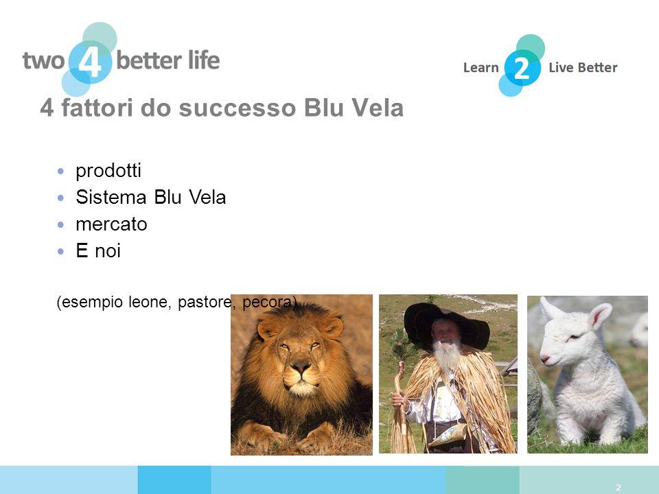 4 fattori do successo Blu Vela 2 prodotti Sistema Blu Vela mercato E noi (esempio leone, pastore, pecora)