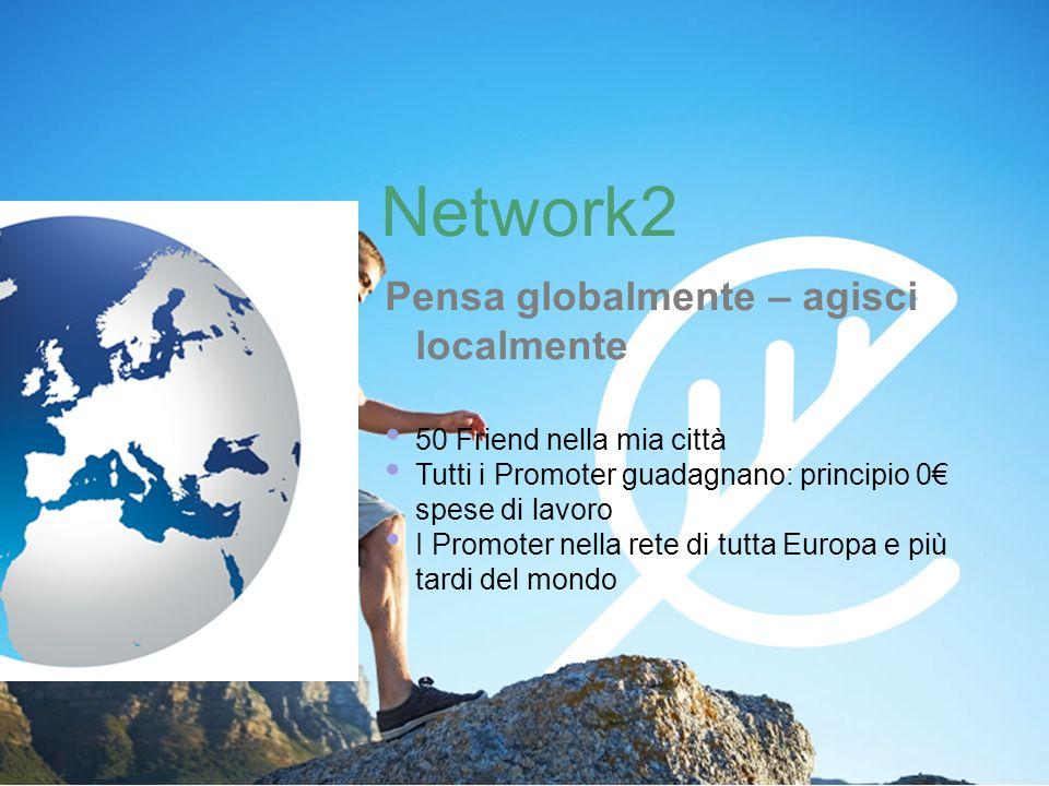 Network2 Pensa globalmente – agisci localmente 50 Friend nella mia città Tutti i Promoter guadagnano: principio 0 spese di lavoro I Promoter nella rete di tutta Europa e più tardi del mondo