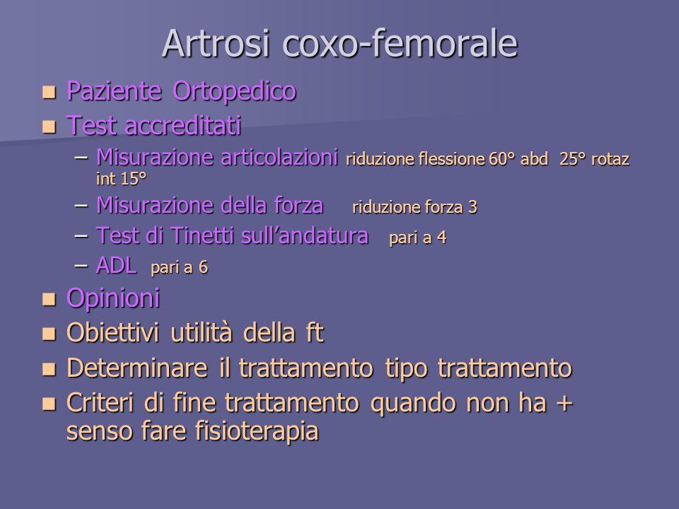 Artrosi coxo-femorale Paziente Ortopedico Paziente Ortopedico Test accreditati Test accreditati –Misurazione articolazioni riduzione flessione 60° abd