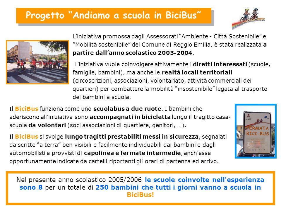 Progetto Andiamo a scuola in BiciBus Liniziativa promossa dagli Assessorati Ambiente - Città Sostenibile e Mobilità sostenibile del Comune di Reggio Emilia, è stata realizzata a partire dallanno scolastico 2003-2004.