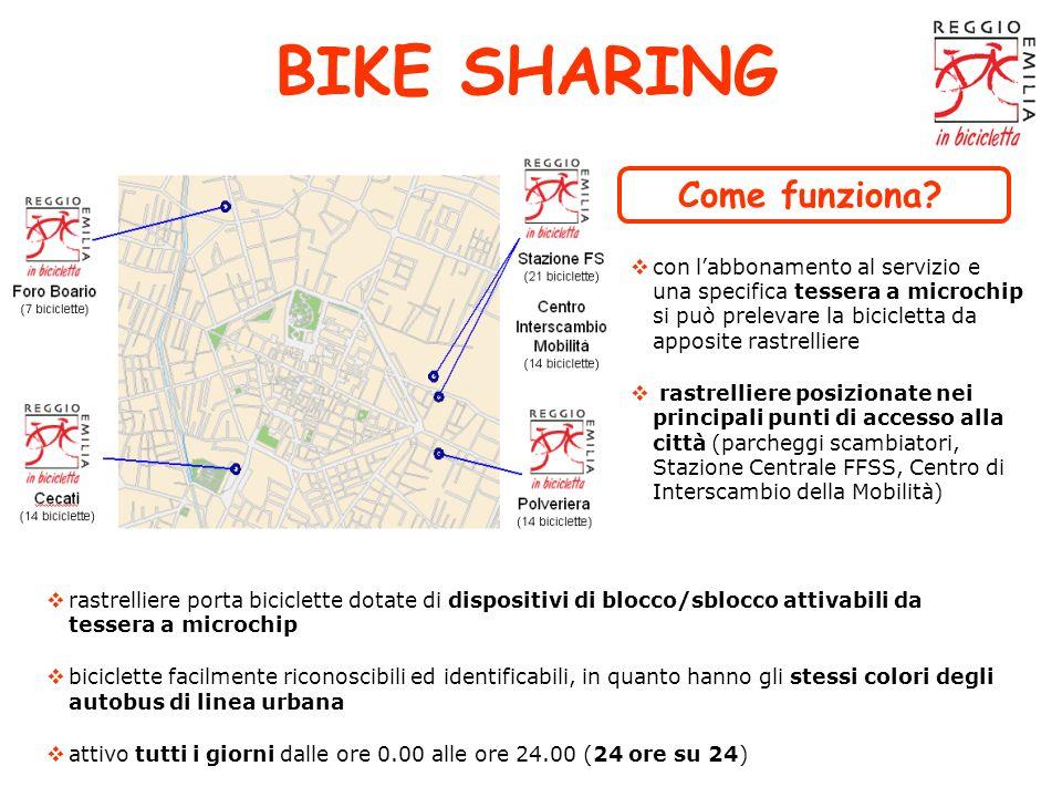 BIKE SHARING rastrelliere porta biciclette dotate di dispositivi di blocco/sblocco attivabili da tessera a microchip biciclette facilmente riconoscibi