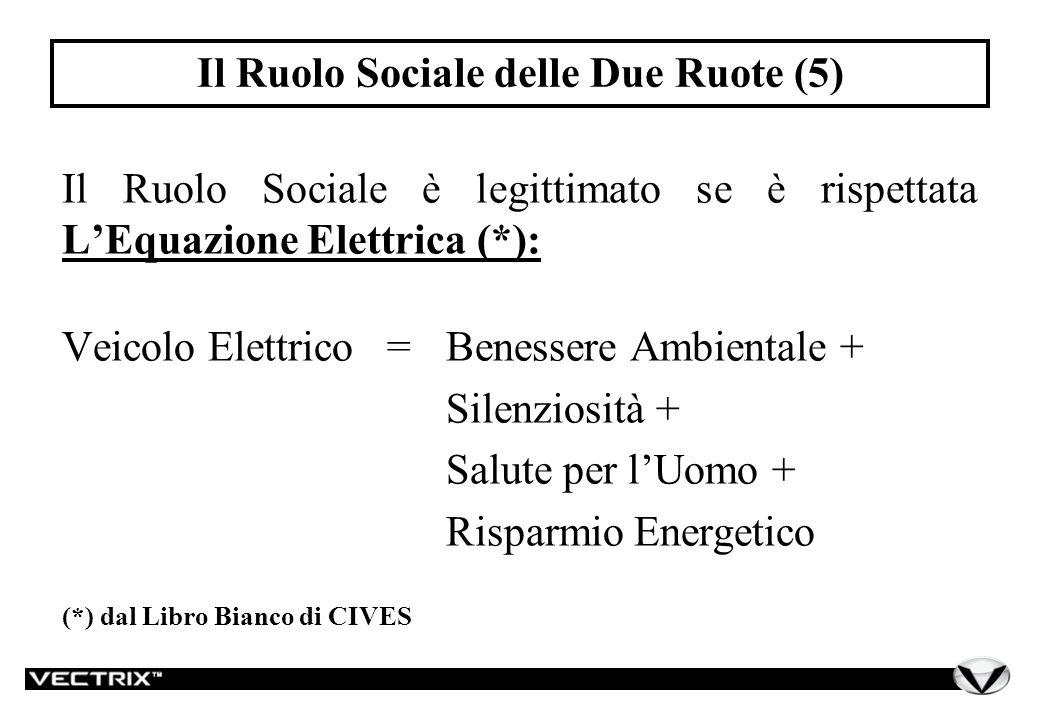 Il Ruolo Sociale delle Due Ruote (5) Il Ruolo Sociale è legittimato se è rispettata LEquazione Elettrica (*): Veicolo Elettrico =Benessere Ambientale + Silenziosità + Salute per lUomo + Risparmio Energetico (*) dal Libro Bianco di CIVES
