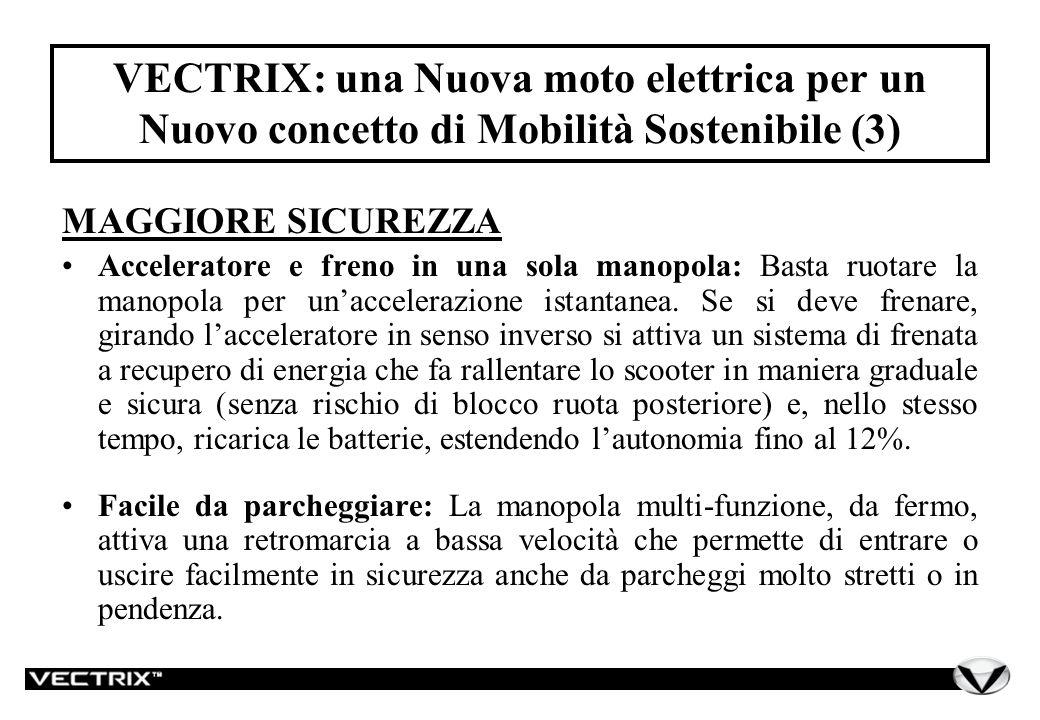 VECTRIX: una Nuova moto elettrica per un Nuovo concetto di Mobilità Sostenibile (3) MAGGIORE SICUREZZA Acceleratore e freno in una sola manopola: Basta ruotare la manopola per unaccelerazione istantanea.