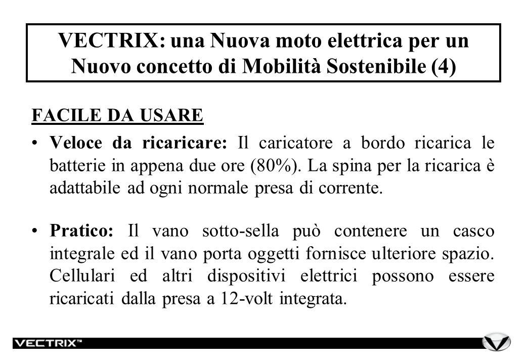 VECTRIX: una Nuova moto elettrica per un Nuovo concetto di Mobilità Sostenibile (4) FACILE DA USARE Veloce da ricaricare: Il caricatore a bordo ricarica le batterie in appena due ore (80%).
