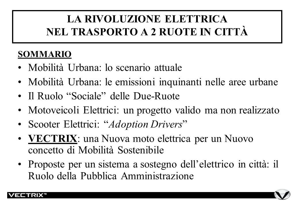 Mobilità Urbana: Lo Scenario Attuale Il trasporto veicolare individuale: le due-ruote In Italia le due-ruote rappresentano circa il 23% dellintero parco dei mezzi adibiti al trasporto passeggeri individuale (autovetture, ciclomotori e motocicli).
