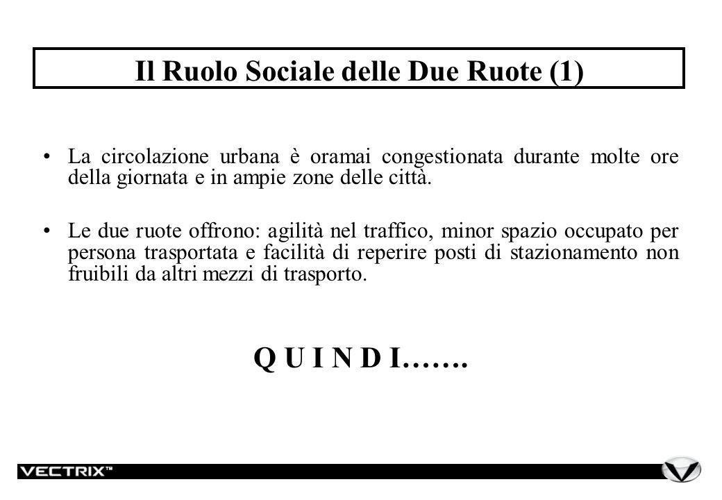 Il Ruolo Sociale delle Due Ruote (2) Le due ruote vanno considerate, a tutto diritto, come mezzo di trasporto da integrarsi, nella pianificazione della mobilità urbana, con i servizi collettivi e l autovettura individuale.
