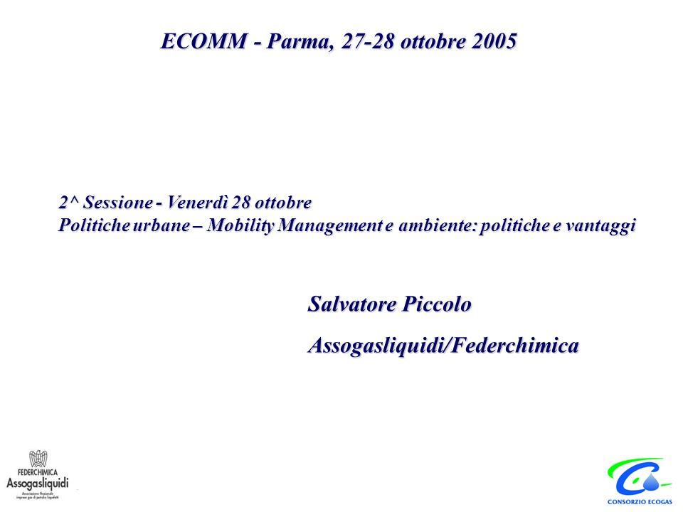 Salvatore Piccolo Assogasliquidi/Federchimica ECOMM - Parma, 27-28 ottobre 2005 2^ Sessione - Venerdì 28 ottobre Politiche urbane – Mobility Management e ambiente: politiche e vantaggi