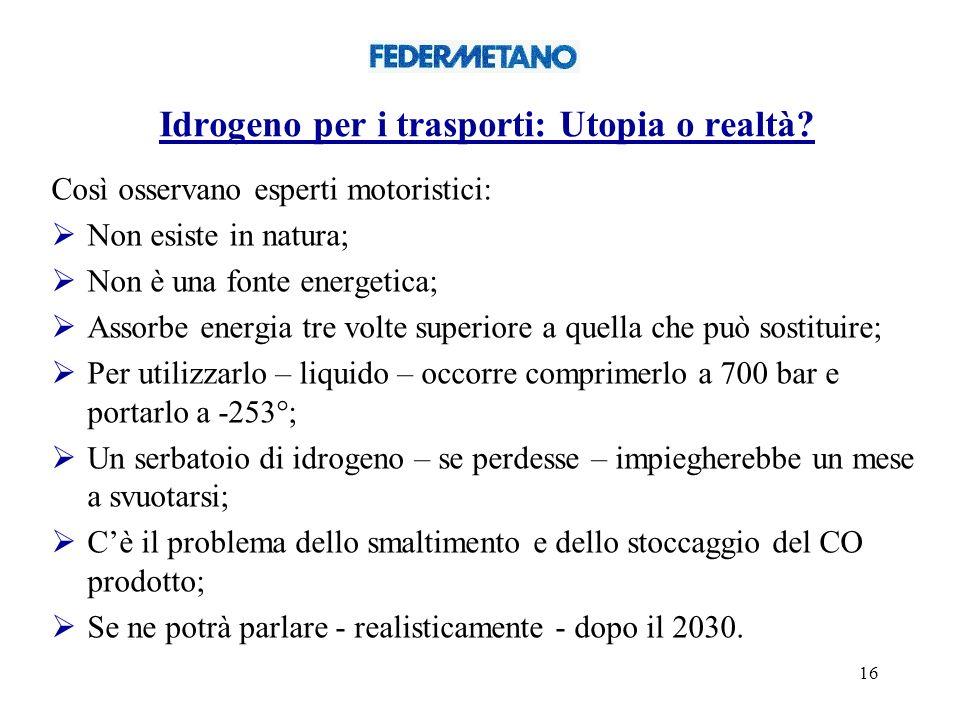 16 Idrogeno per i trasporti: Utopia o realtà.