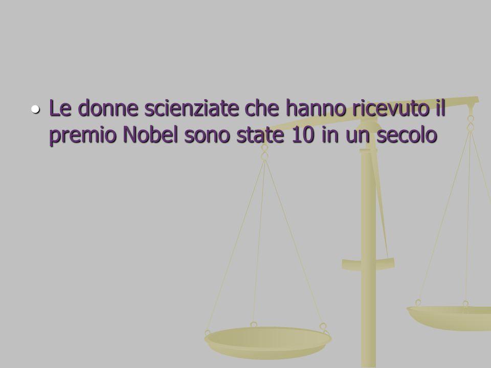 Le donne scienziate che hanno ricevuto il premio Nobel sono state 10 in un secolo Le donne scienziate che hanno ricevuto il premio Nobel sono state 10