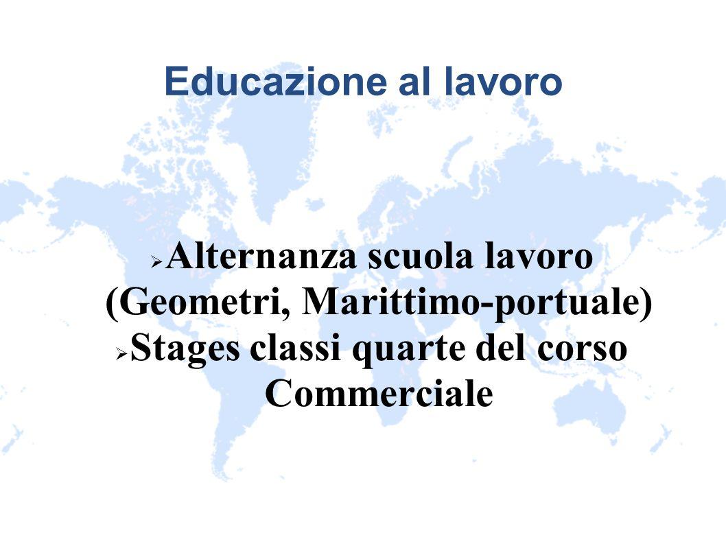 Educazione al lavoro Alternanza scuola lavoro (Geometri, Marittimo-portuale) Stages classi quarte del corso Commerciale