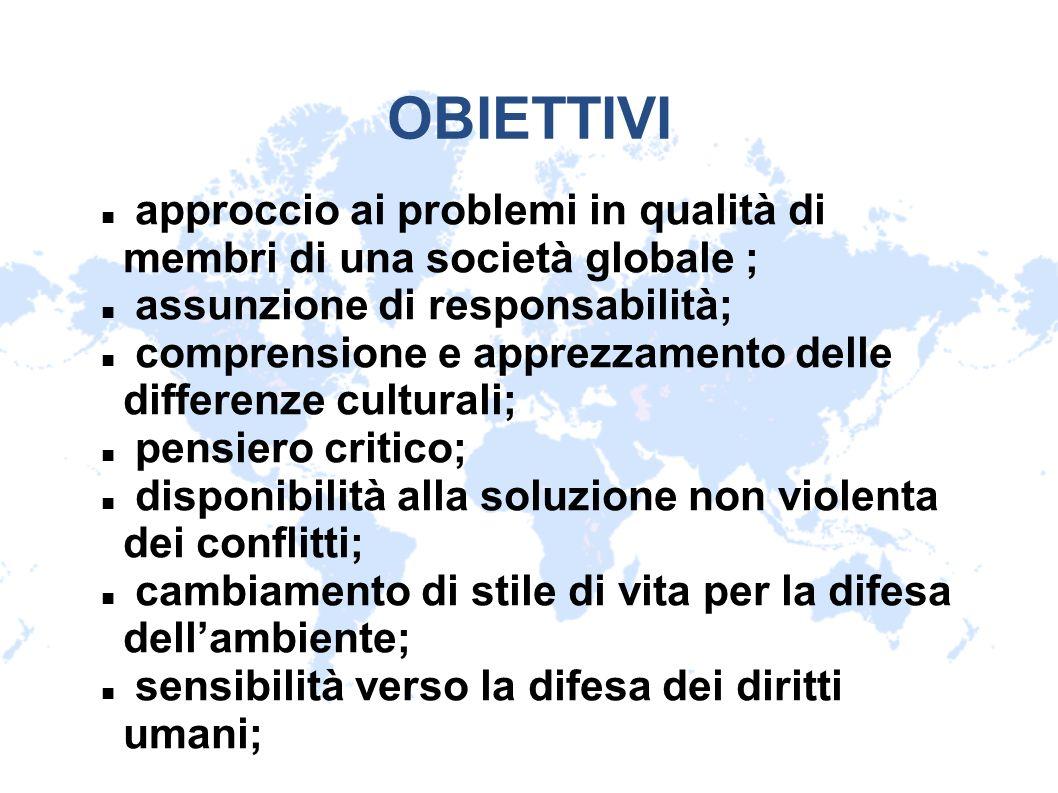 OBIETTIVI approccio ai problemi in qualità di membri di una società globale ; assunzione di responsabilità; comprensione e apprezzamento delle differe