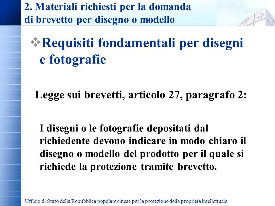 2. Materiali richiesti per la domanda di brevetto per disegno o modello Requisiti fondamentali per disegni e fotografie Legge sui brevetti, articolo 2