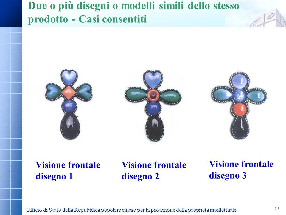 23 Visione frontale disegno 1 Visione frontale disegno 2 Visione frontale disegno 3 Due o più disegni o modelli simili dello stesso prodotto - Casi co
