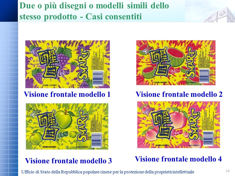 24 Visione frontale modello 1Visione frontale modello 2 Visione frontale modello 4 Visione frontale modello 3 Ufficio di Stato della Repubblica popola
