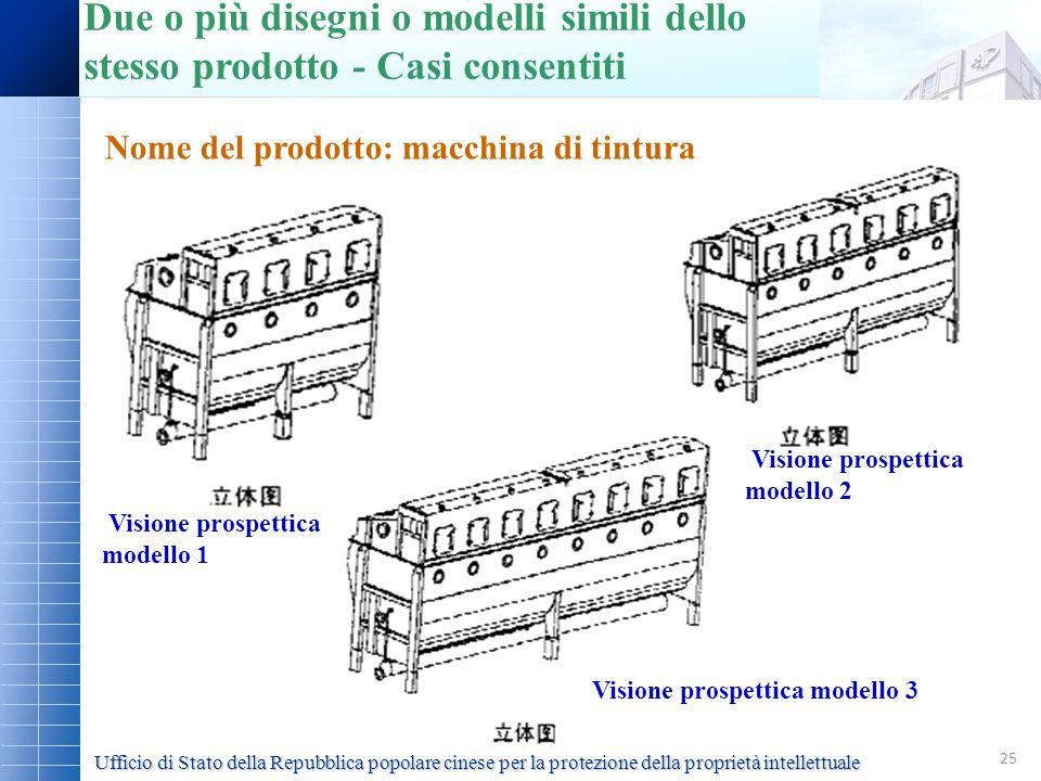 25 Nome del prodotto: macchina di tintura Due o più disegni o modelli simili dello stesso prodotto - Casi consentiti Visione prospettica modello 1 Vis