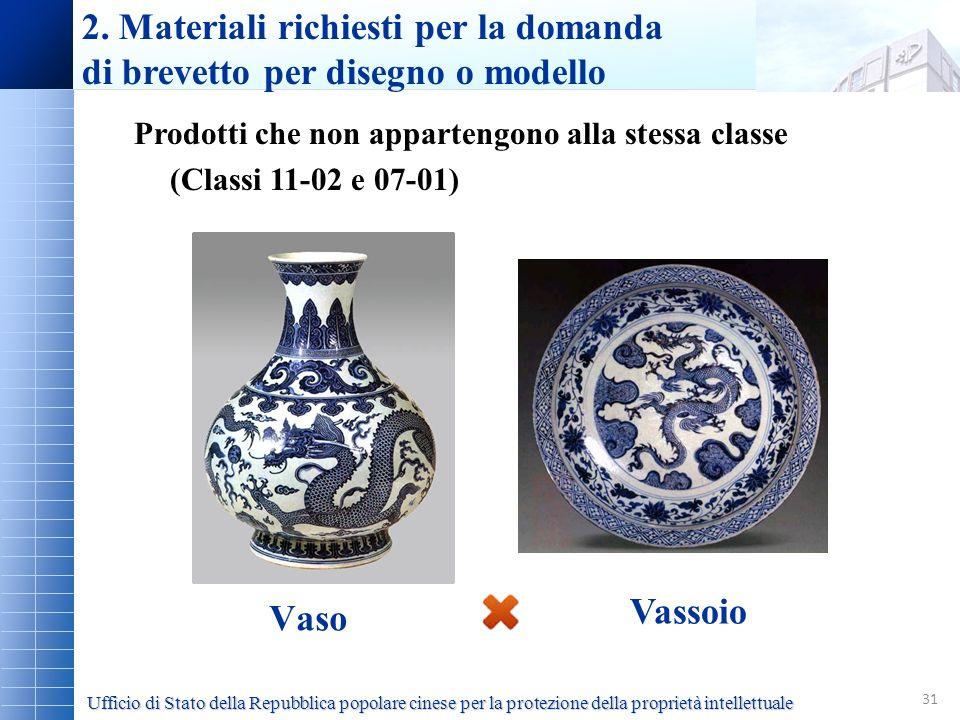 31 Vaso 2. Materiali richiesti per la domanda di brevetto per disegno o modello Prodotti che non appartengono alla stessa classe (Classi 11-02 e 07-01
