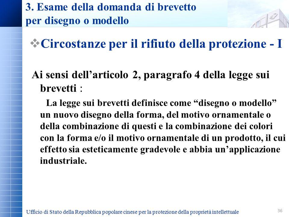 36 3. Esame della domanda di brevetto per disegno o modello Circostanze per il rifiuto della protezione - I Ai sensi dellarticolo 2, paragrafo 4 della