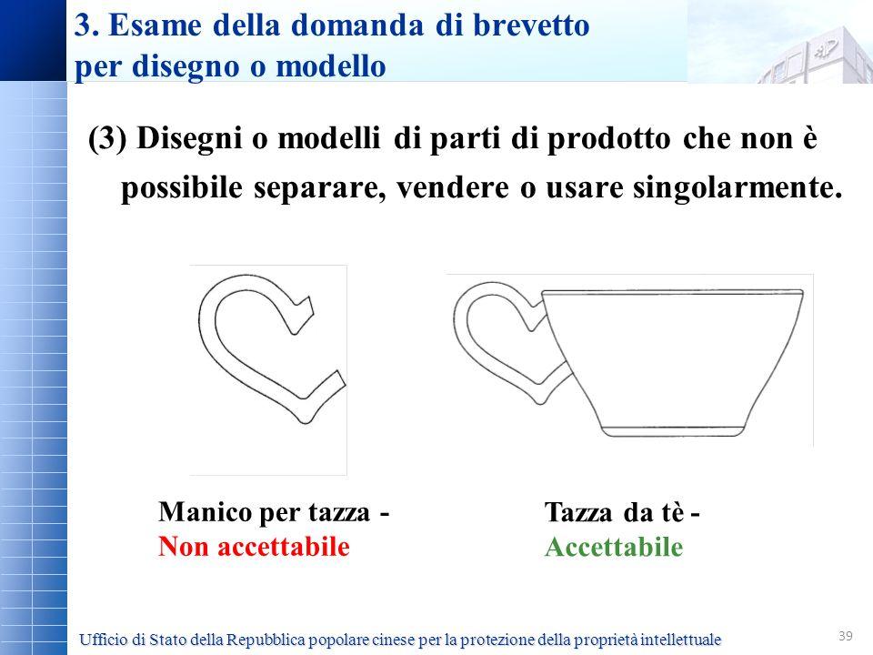 39 (3) Disegni o modelli di parti di prodotto che non è possibile separare, vendere o usare singolarmente. 3. Esame della domanda di brevetto per dise