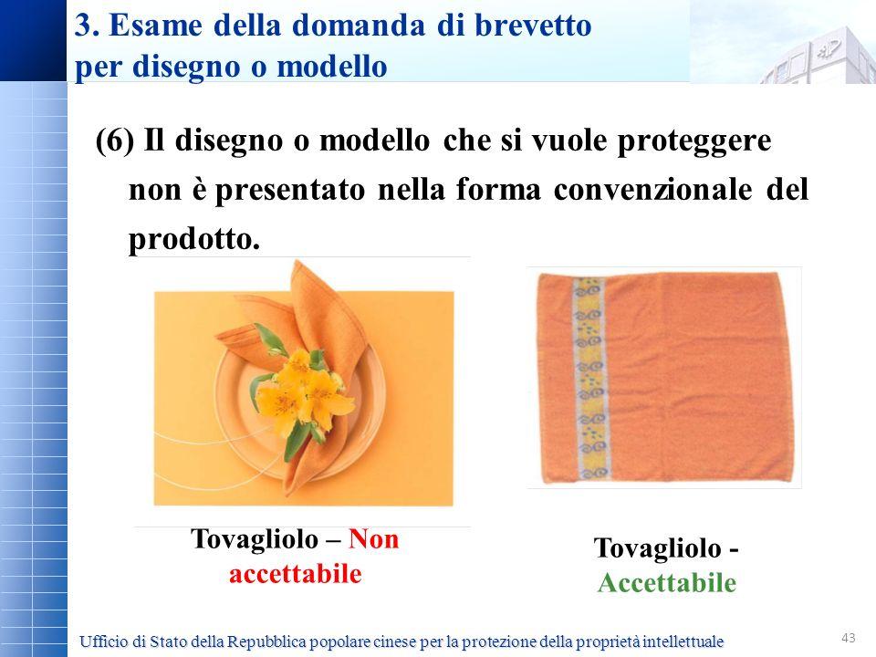 43 (6) Il disegno o modello che si vuole proteggere non è presentato nella forma convenzionale del prodotto. 3. Esame della domanda di brevetto per di
