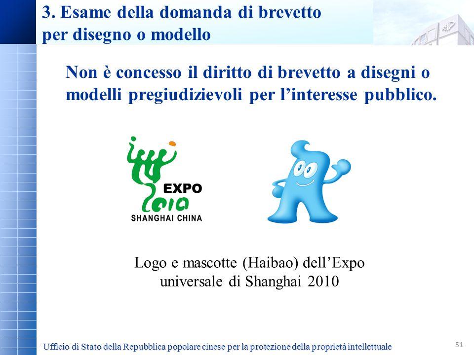 51 Logo e mascotte (Haibao) dellExpo universale di Shanghai 2010 Non è concesso il diritto di brevetto a disegni o modelli pregiudizievoli per lintere