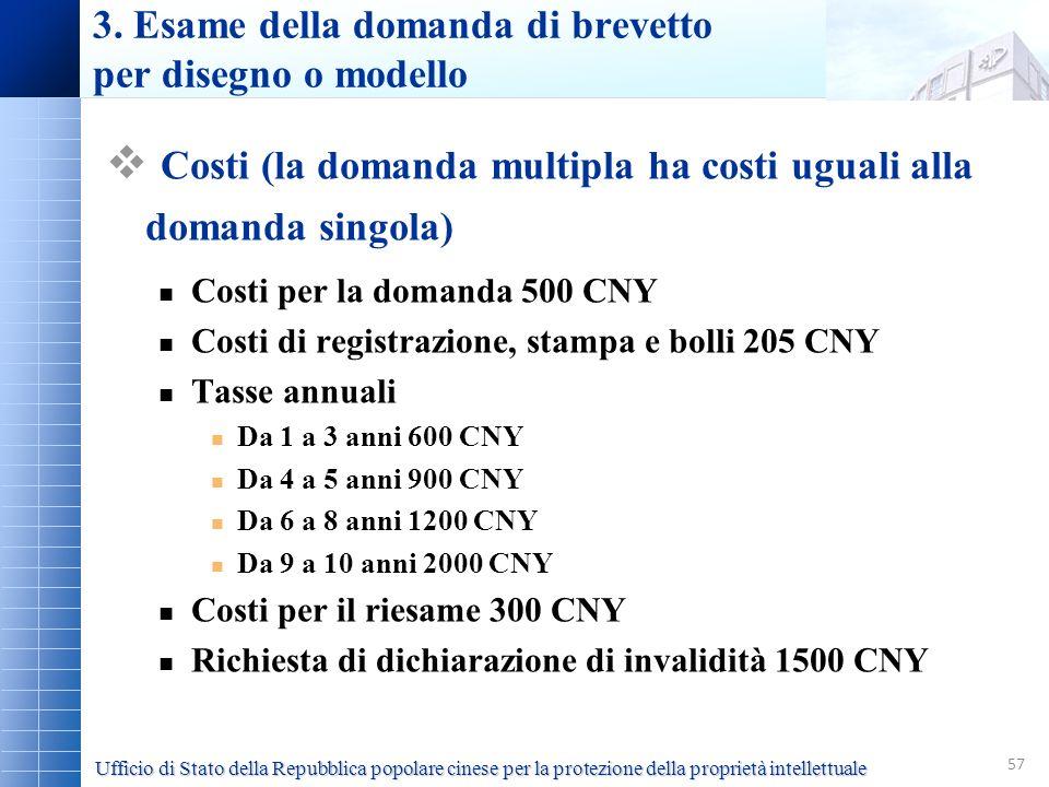 57 3. Esame della domanda di brevetto per disegno o modello Costi (la domanda multipla ha costi uguali alla domanda singola) Costi per la domanda 500