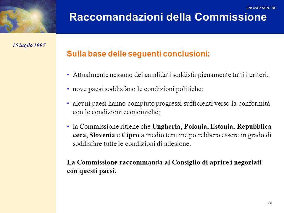 ENLARGEMENT DG 14 Raccomandazioni della Commissione Sulla base delle seguenti conclusioni: Attualmente nessuno dei candidati soddisfa pienamente tutti