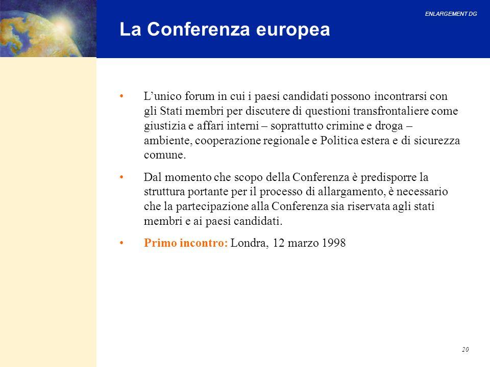 ENLARGEMENT DG 20 La Conferenza europea Lunico forum in cui i paesi candidati possono incontrarsi con gli Stati membri per discutere di questioni tran