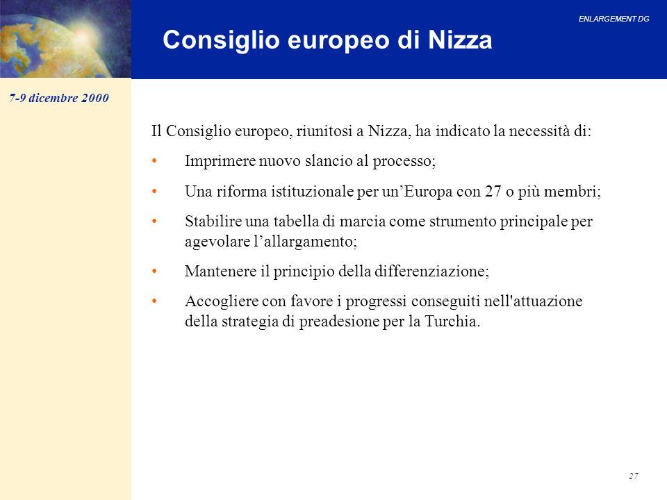 ENLARGEMENT DG 27 Consiglio europeo di Nizza Il Consiglio europeo, riunitosi a Nizza, ha indicato la necessità di: Imprimere nuovo slancio al processo