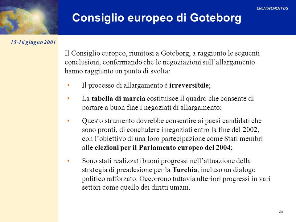 ENLARGEMENT DG 28 Consiglio europeo di Goteborg Il processo di allargamento è irreversibile; La tabella di marcia costituisce il quadro che consente d