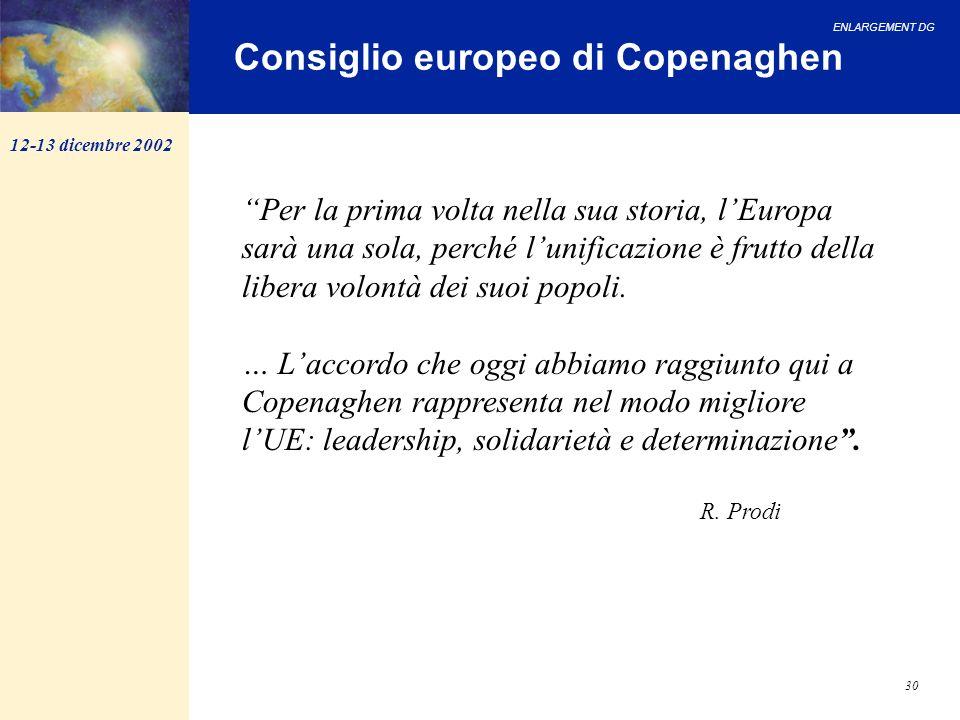 ENLARGEMENT DG 30 Consiglio europeo di Copenaghen Per la prima volta nella sua storia, lEuropa sarà una sola, perché lunificazione è frutto della libe
