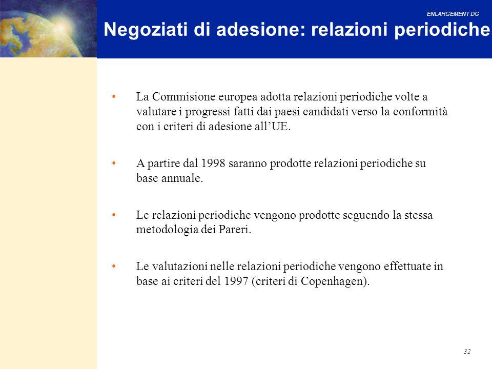 ENLARGEMENT DG 32 Negoziati di adesione: relazioni periodiche La Commisione europea adotta relazioni periodiche volte a valutare i progressi fatti dai