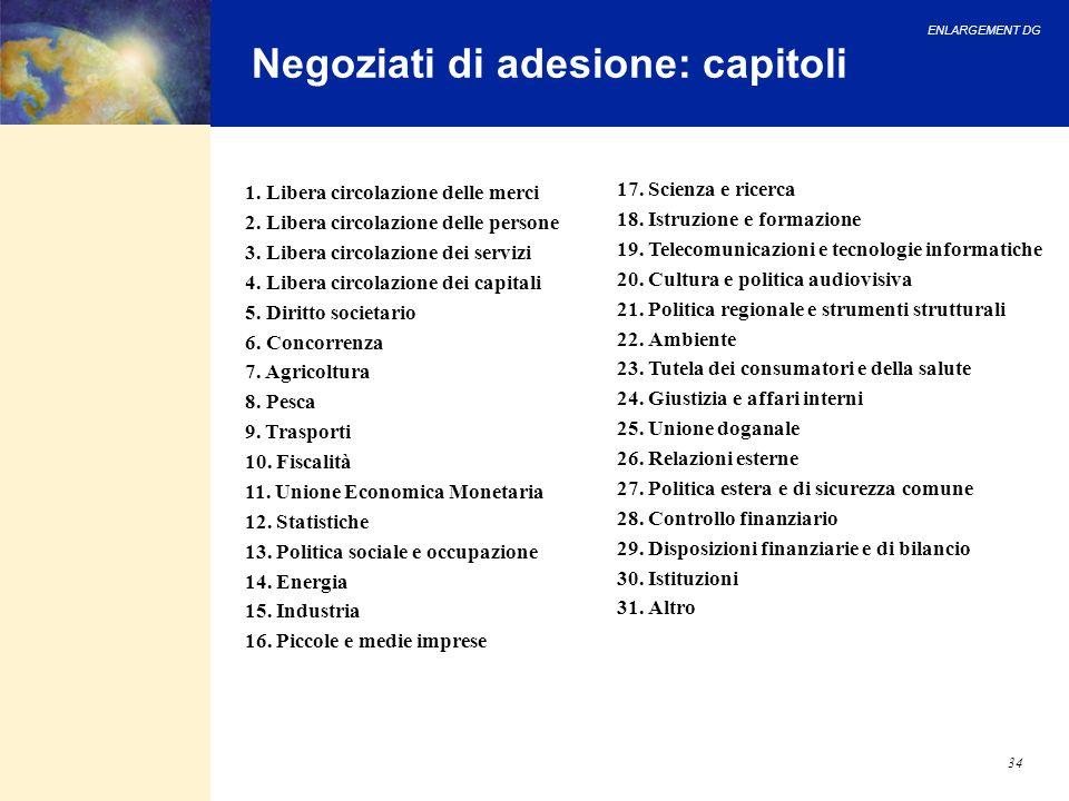 ENLARGEMENT DG 34 Negoziati di adesione: capitoli 1. Libera circolazione delle merci 2. Libera circolazione delle persone 3. Libera circolazione dei s