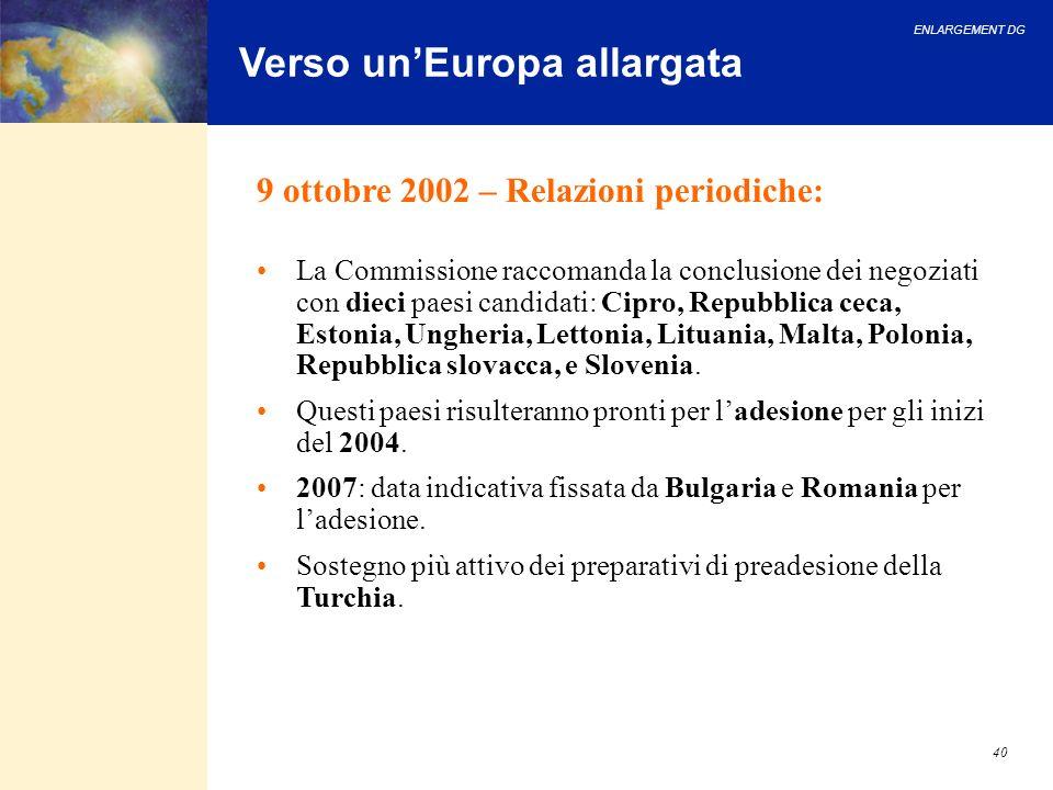 ENLARGEMENT DG 40 Verso unEuropa allargata 9 ottobre 2002 – Relazioni periodiche: La Commissione raccomanda la conclusione dei negoziati con dieci pae