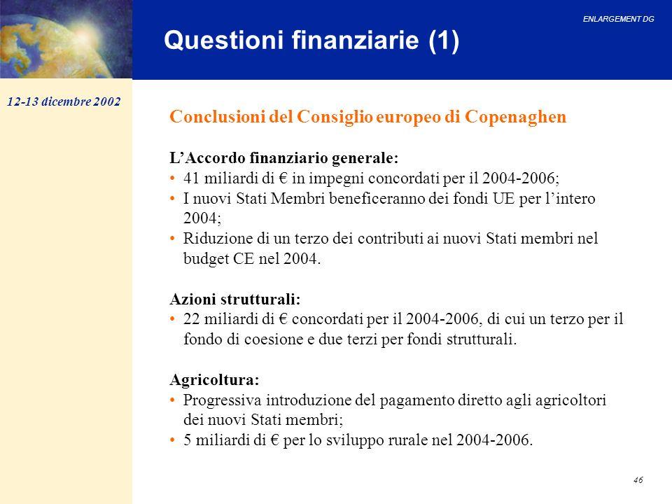 ENLARGEMENT DG 46 Conclusioni del Consiglio europeo di Copenaghen LAccordo finanziario generale: 41 miliardi di in impegni concordati per il 2004-2006