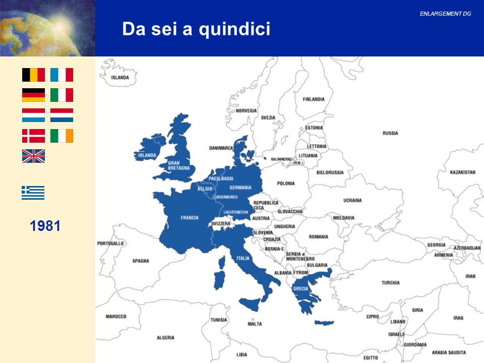 ENLARGEMENT DG 26 Consiglio europeo di Helsinki Il Consiglio europeo, riunitosi a Helsinki, ha deciso in particolare di: 1.Lanciare a febbraio 2000 negoziati ufficiali con Bulgaria, Lettonia, Lituania, Malta, Romania e Slovacchia; 2.Giudicare ogni candidato in sede di negoziati in base ai propri meriti.
