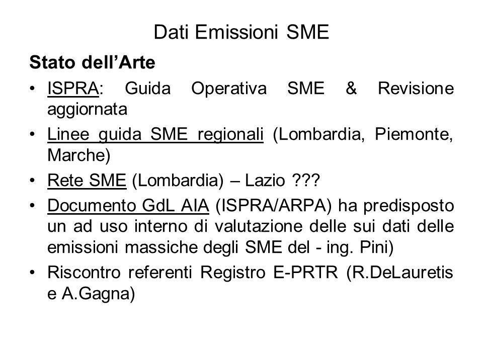 Dati Emissioni SME ARPA Puglia Implementazione del modulo SME del CET aggiornato Emissione massica annuale Calcolata sui valori medi orari validi (inclusi i transitori), come sommatoria, per tutte le ore valida, delle concentrazioni medie orarie moltiplicate per le relative portate medie orarie.