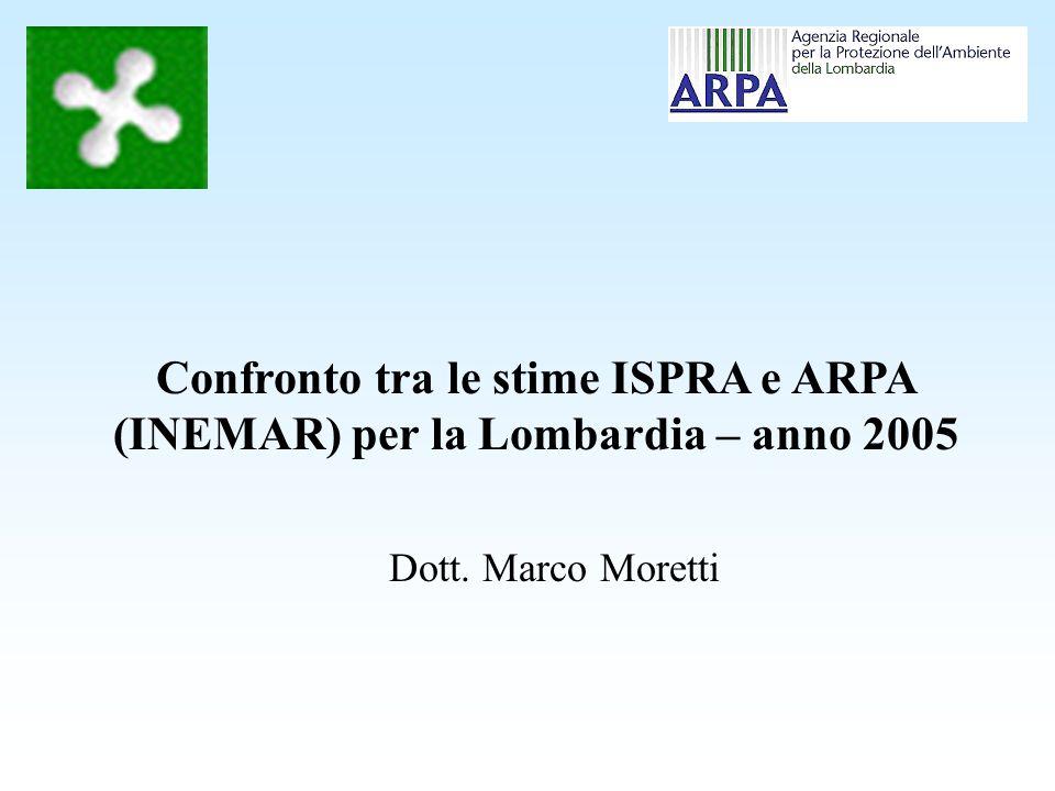 Linventario delle emissioni di ISPRA (ex APAT) Le stime dellinventario ISPRA sono state effettuate con la metodologia top down, a differenza di quelle dellinventario INEMAR, che sono di tipo bottom up.